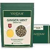 VAHDAM, hojas sueltas de té verde menta espumante de jengibre (100 tazas) | ANTIOXIDANTES RICOS |...