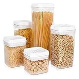 Navaris Juego de 5 recipientes herméticos para Alimentos - Botes para almacenar Pasta Cereales...