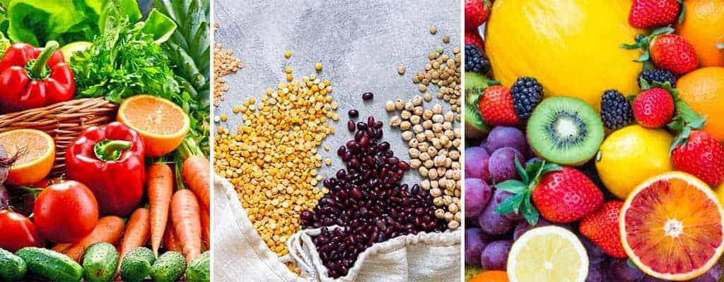 Verduras, legumbres y frutas plant base diet